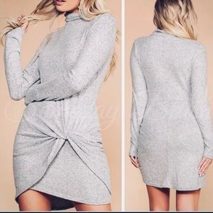 Mock Neck Long Sleeve Fitted Mini Dress Taupe S